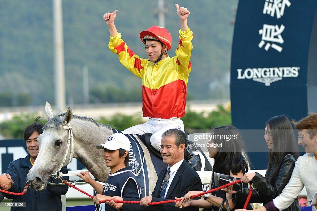 Matthew Chadwick aboard California Memory after winning The Longines Hong Kong Cup during the Hong Kong International Races at Sha Tin racecourse on December 9, 2012 in Hong Kong.