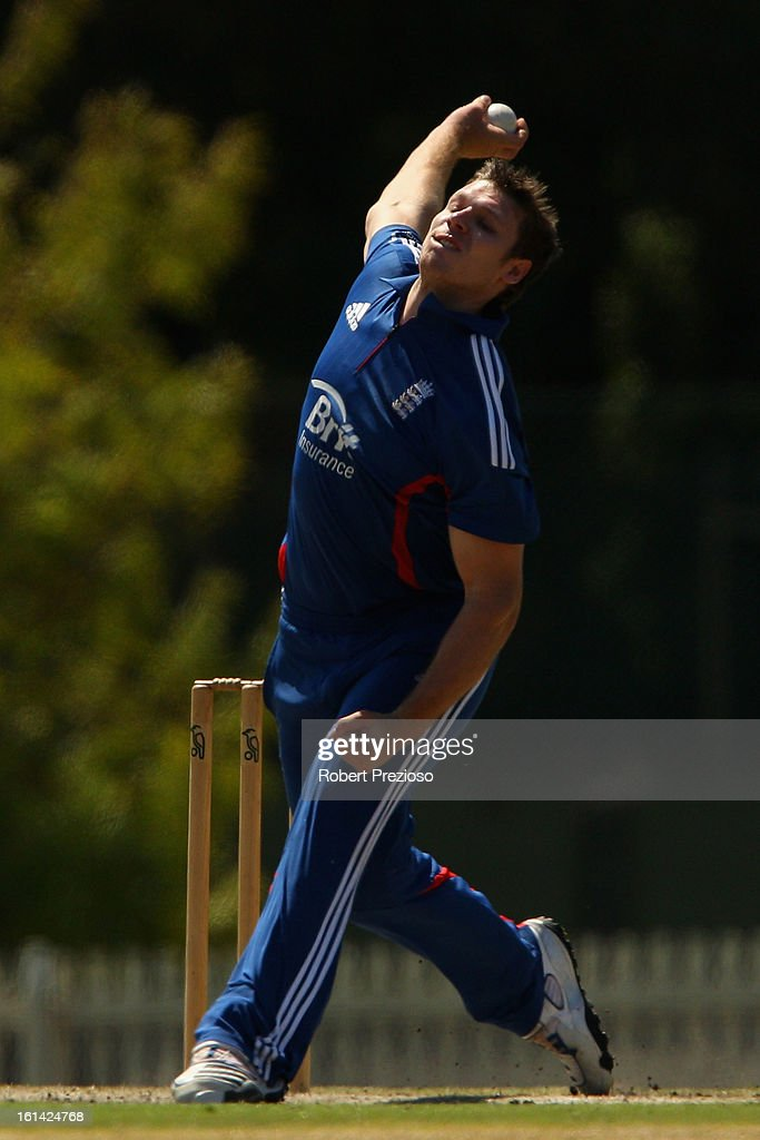 Matthew Coles of the Lions bowls during the International Tour match between the Victoria Bushrangers and England Lions at Junction Oval on February 11, 2013 in Melbourne, Australia.