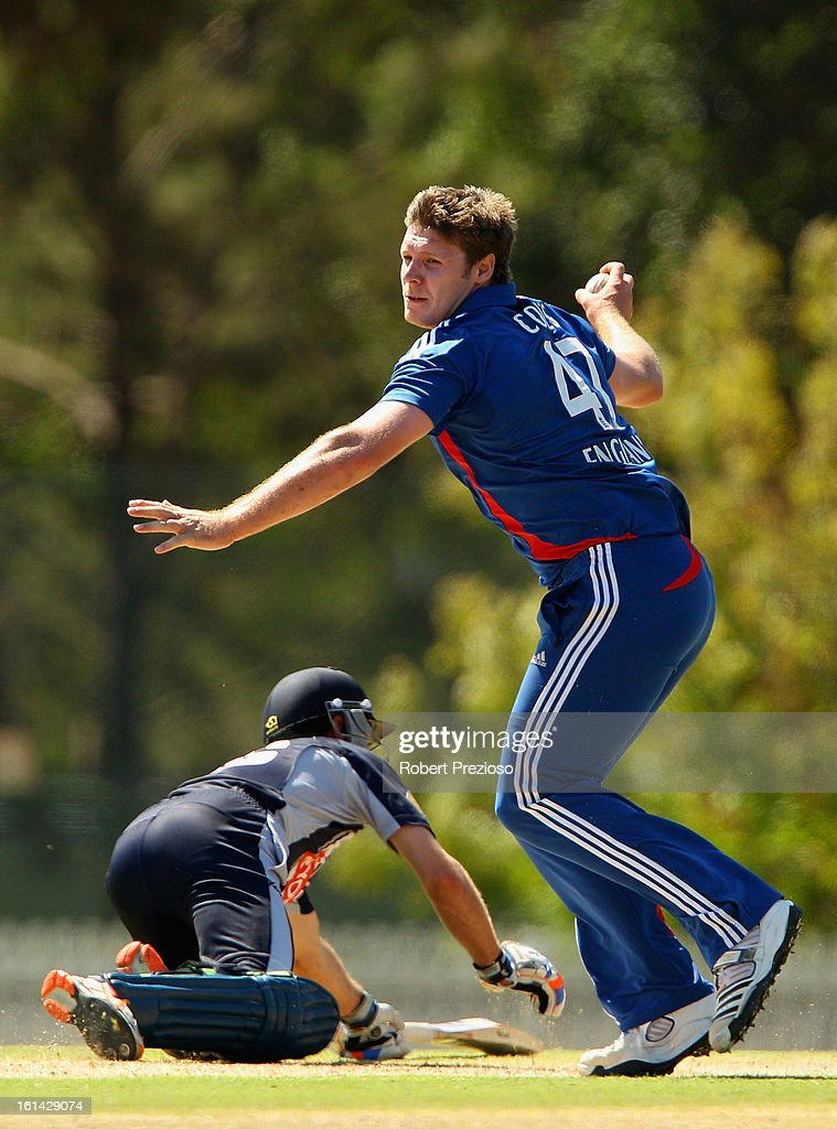 Matthew Coles of the Lions fields the ball during the International Tour match between the Victoria Bushrangers and England Lions at Junction Oval on February 11, 2013 in Melbourne, Australia.