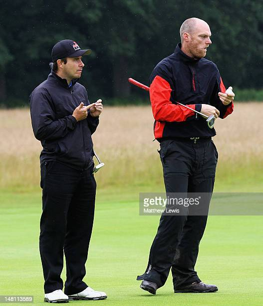 Matthew Cort of Rothley Park Golf Club and Craig Shave of Whetstone Golf Club look on during the Skins PGA Fourball championship Midlands Regional...