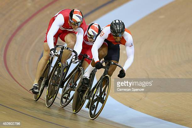 Matthew Crampton of England Philip Hindes of England and Njisane Phillip of Trinidad and Tobago compete during the Men's Sprint First Round...