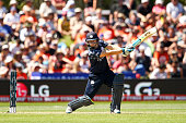 Matthew Cross of Scotland bats during the ICC Cricket World Cup match between New Zealand and Scotland at University Oval on February 17 2015 in...