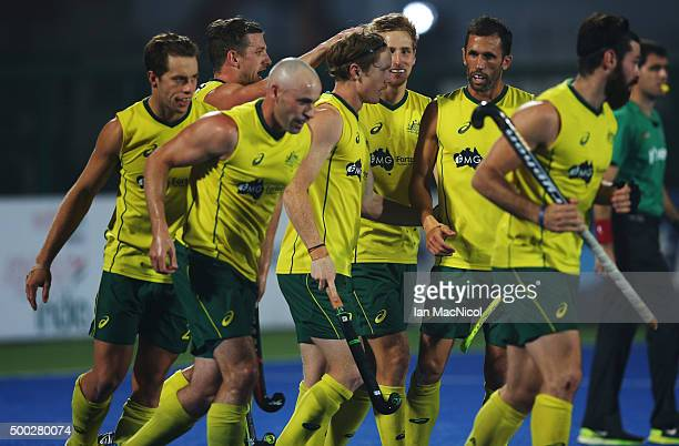 Matthew Dawson of Australia celebrates after he scores during the final match between Australia and Belgium on day ten of The Hero Hockey League...