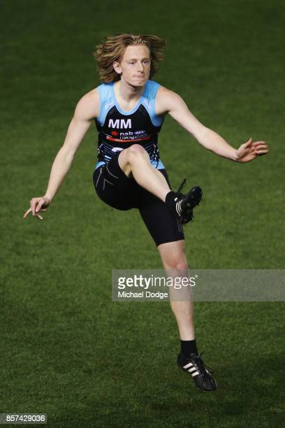 Matthew Day of Oakleigh Chargers kicks the ball during the AFLW Draft Combine at Etihad Stadium on October 4 2017 in Melbourne Australia