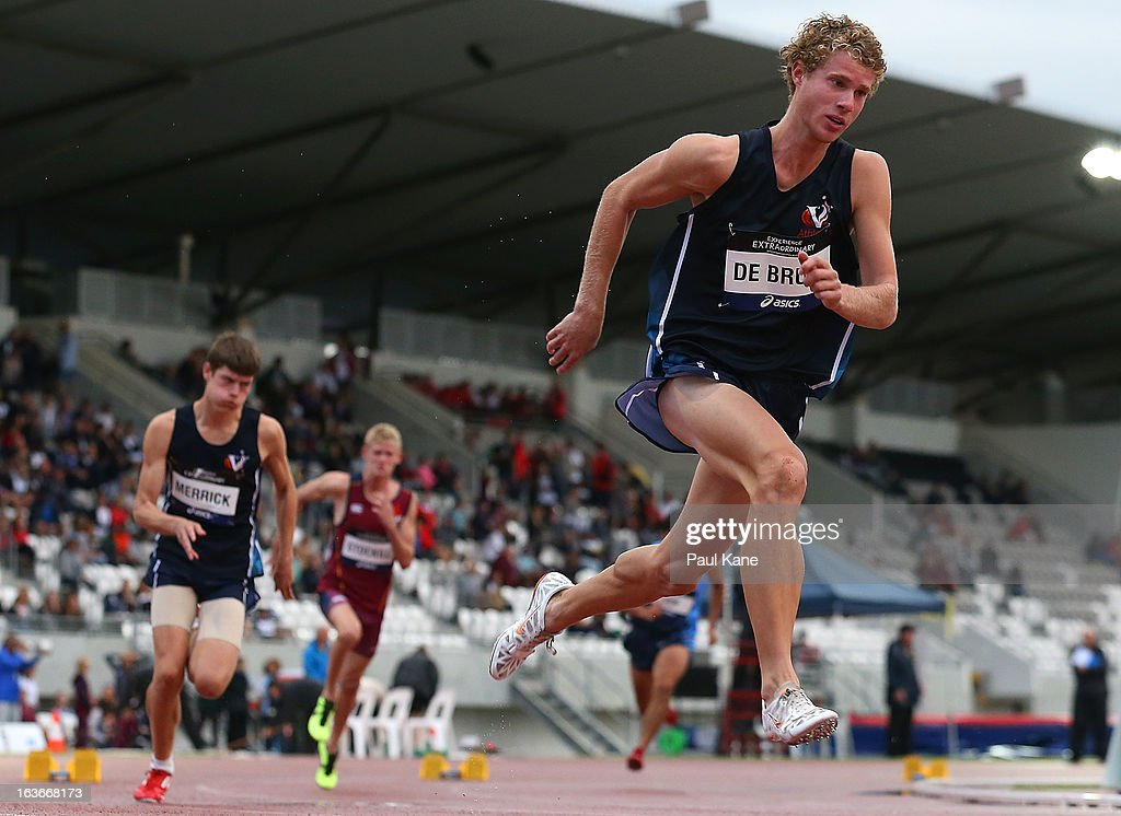 Matthew De Bruin of Victoria competes in the men's u18 400 metre hurdles final during day three of the Australian Junior Championships at the WA Athletics Stadium on March 14, 2013 in Perth, Australia.