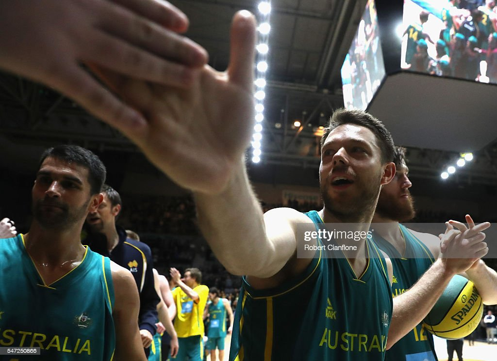 Matthew Dellavedova of the Boomers acknowledges a fan after the match between the Australian Boomers and the Pac-12 College All-stars at Hisense Arena on July 14, 2016 in Melbourne, Australia.