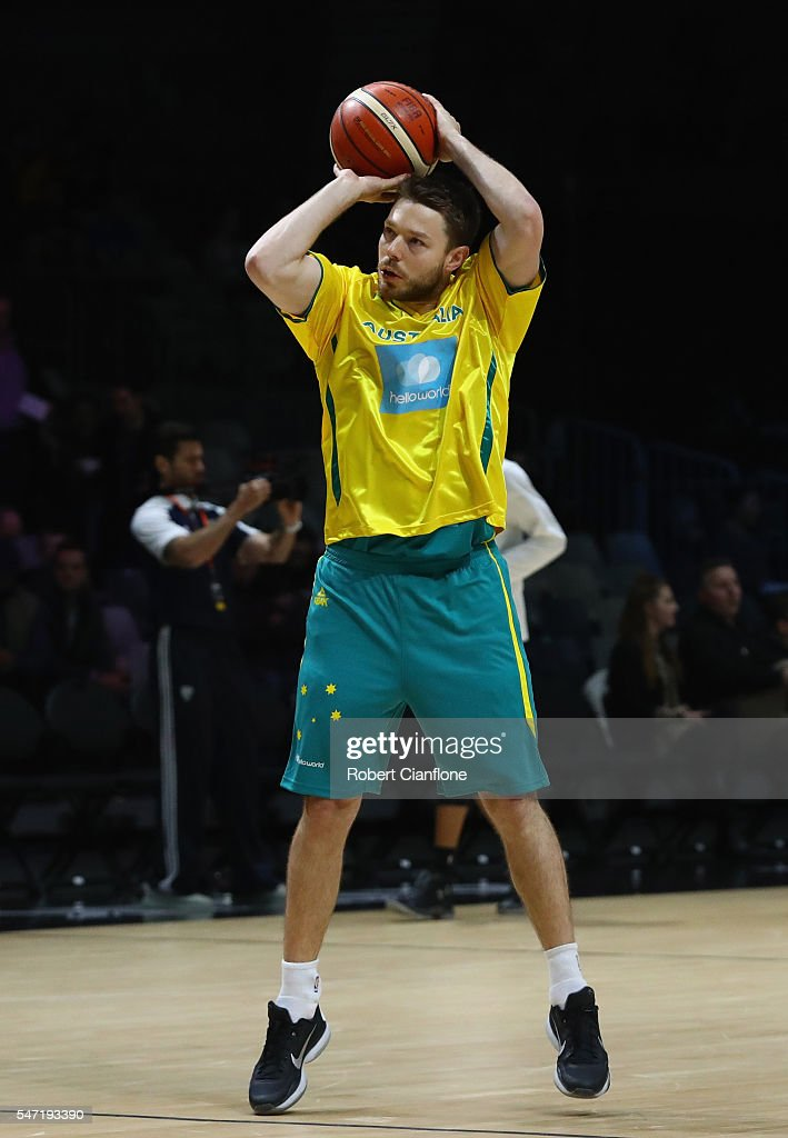 Matthew Dellavedova of the Boomers warms up prior to the match between the Australian Boomers and the Pac-12 College All-stars at Hisense Arena on July 14, 2016 in Melbourne, Australia.