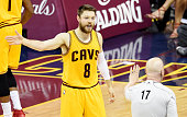 Matthew Dellavedova of the Cleveland Cavaliers argues a call with referee Joe Crawford in the first quarter against the Golden State Warriors during...