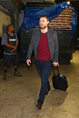 Matthew Dellavedova of the Cleveland Cavaliers arrives before Game Five of the 2016 NBA Finals against the Golden State Warriors on June 13 2016 at...