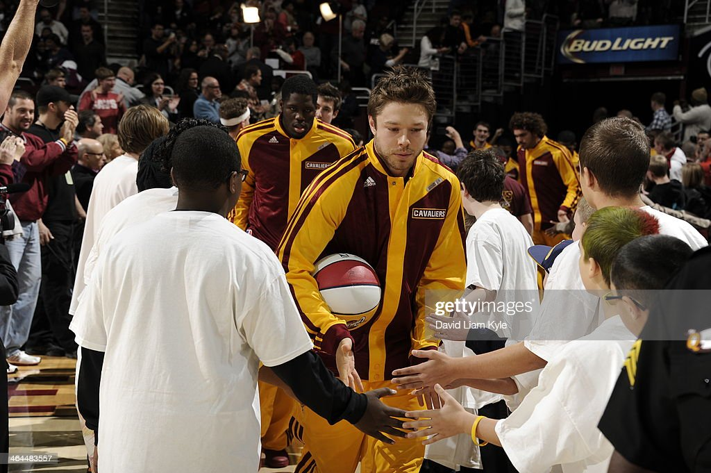 <a gi-track='captionPersonalityLinkClicked' href=/galleries/search?phrase=Matthew+Dellavedova&family=editorial&specificpeople=5948739 ng-click='$event.stopPropagation()'>Matthew Dellavedova</a> #8 of the Cleveland Cavaliers gets introduced before the game against the Miami Heat at The Quicken Loans Arena on November 27, 2013 in Cleveland, Ohio.