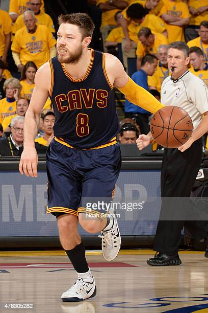 Matthew Dellavedova of the Cleveland Cavaliers handles the ball against the Golden State Warriors in Game Two of the 2015 NBA Finals on June 4 2015...
