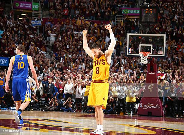Matthew Dellavedova of the Cleveland Cavaliers reacts during Game Three of the 2015 NBA Finals at The Quicken Loans Arena on June 9 2015 in Cleveland...