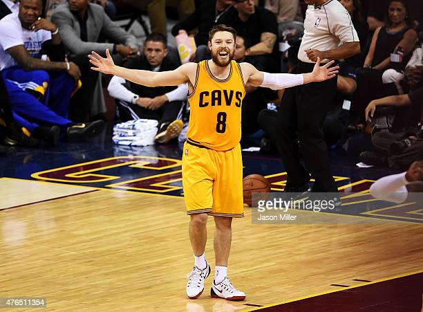 Matthew Dellavedova of the Cleveland Cavaliers reacts during Game Three of the 2015 NBA Finals at Quicken Loans Arena on June 9 2015 in Cleveland...