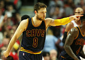 Matthew Dellavedova of the Cleveland Cavaliers reacts in the fourth quarter against the Chicago Bulls during Game Six of the Eastern Conference...