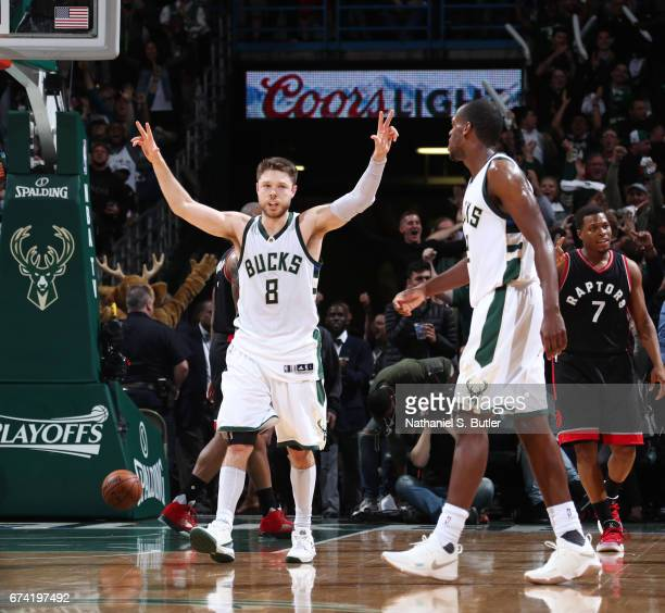 Matthew Dellavedova of the Milwaukee Bucks celebrates during Game Six of the Eastern Conference Quarterfinals of the 2017 NBA Playoffs on April 27...