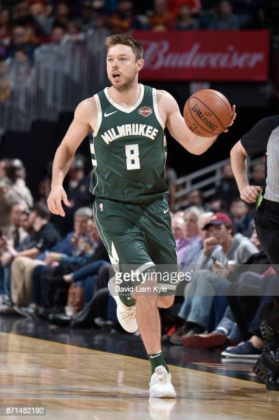 Matthew Dellavedova of the Milwaukee Bucks handles the ball against the Cleveland Cavaliers on Novmber 7 2017 at Quicken Loans Arena in Cleveland...