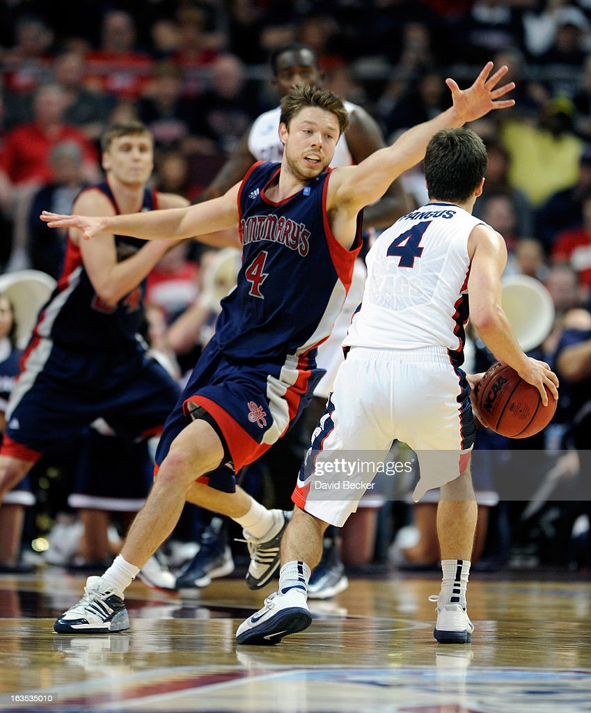 Matthew Dellavedova #4 of the Saint Mary's Gaels guards Kevin Pangos #4 of the Gonzaga Bulldogs during the championship game of the West Coast Conference Basketball tournament at the Orleans Arena March 11, 2013 in Las Vegas, Nevada. Gonzaga won 65-51.