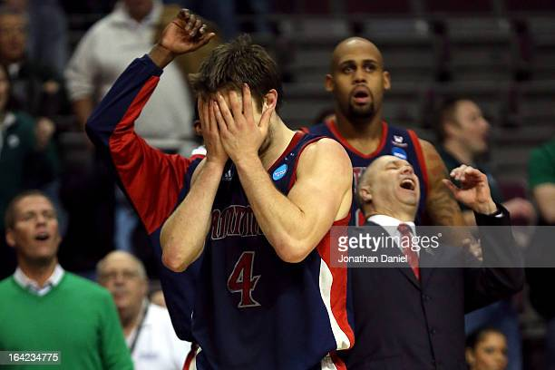 Matthew Dellavedova of the St Mary's Gaels reacts after he missed the last shot attempt of the game as they lost 5452 against the Memphis Tigers...