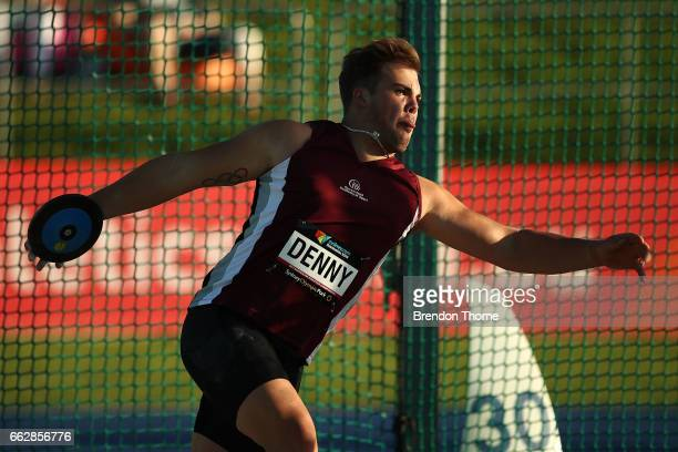 Matthew Denny of Qld competes in the Men's Discus Throw Open during day seven of the Australian Athletics Championships at Sydney Olympic Park...