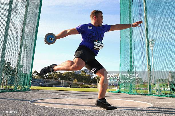 Matthew Denny of Queensland competes in the men's discus throw during the Australian Athletics Championships at Sydney Olympic Park on April 2 2016...