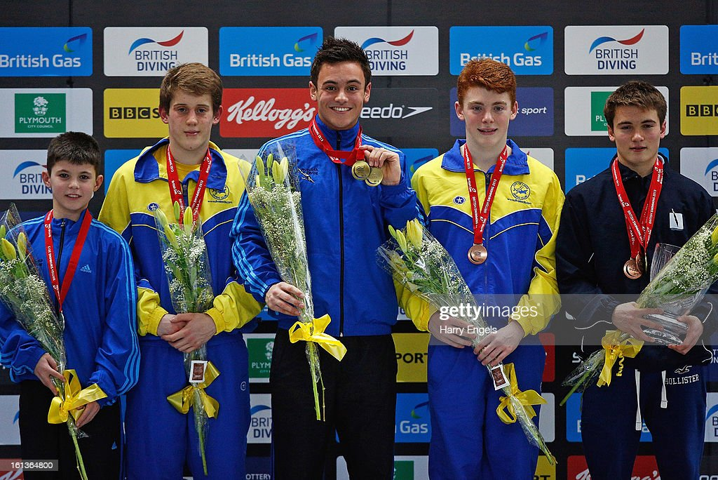 Matthew Dixon, James Denny, <a gi-track='captionPersonalityLinkClicked' href=/galleries/search?phrase=Tom+Daley+-+Diver&family=editorial&specificpeople=2652461 ng-click='$event.stopPropagation()'>Tom Daley</a>, Sam Thornton and Daniel Goodfellow pose with their medals in the Men's 10m category on day three of the British Gas Diving Championships on February 10, 2013 in Plymouth, England.