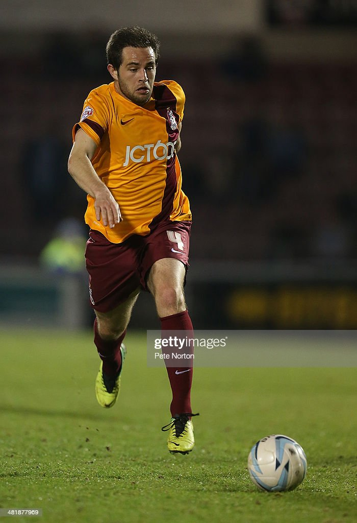 Matthew Dolan of Bradford City in action during the Sky Bet League One match between Coventry City and Bradford City at Sixfields Stadium on April 1, 2014 in Northampton, England.