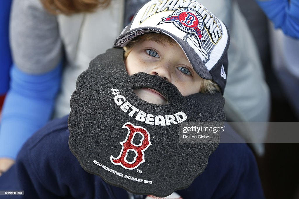 Matthew Duffell, 6, of Providence, R.I. sported a beard at Fenway Park. The Red Sox Rolling Rally started at Fenway Park and paraded around Boston after the Boston Red Sox won the 2013 World Series, on Saturday, Nov. 2, 2013.