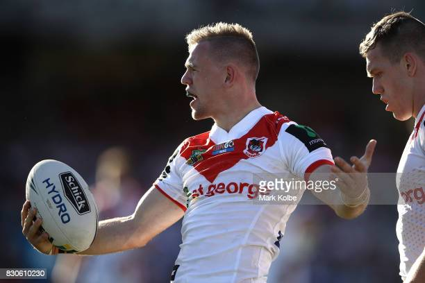 Matthew Dufty of the Dragons appeals to the referee during the round 23 NRL match between the St George Illawarra Dragons and the Gold Coast Titans...