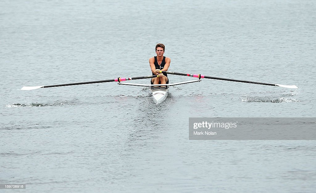 Matthew Dunham of New Zealand competes in the Men's Singles Sculls at the rowing on day four of the Australian Youth Olympic Festival at Sydney International Regatta Centre on January 19, 2013 in Sydney, Australia.