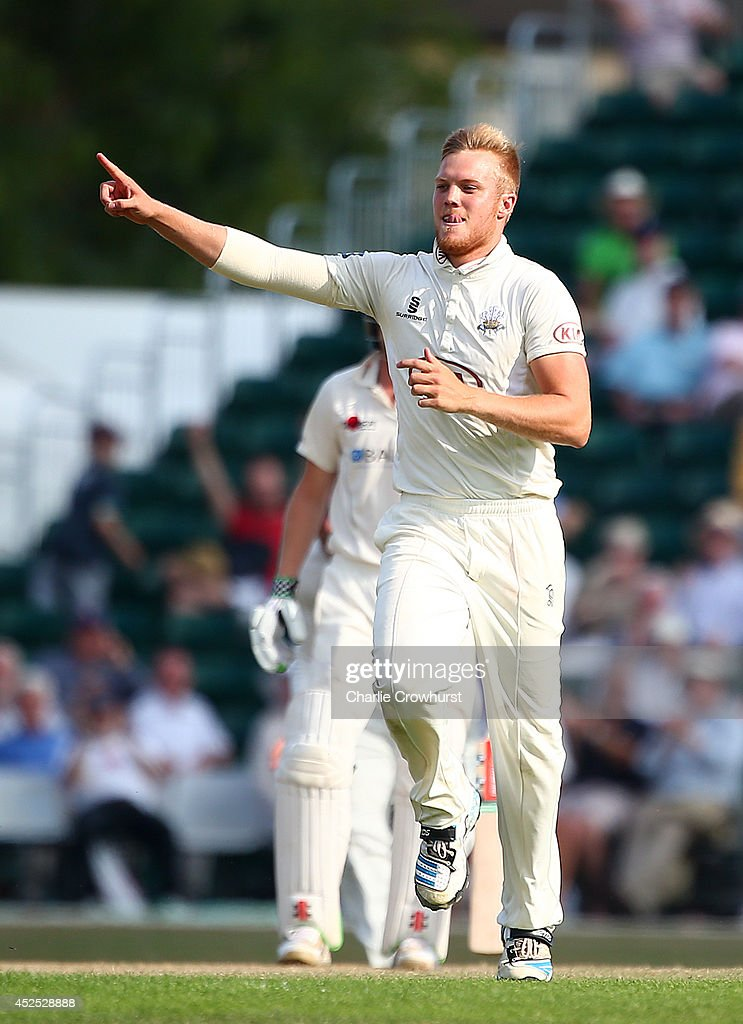Matthew Dunn of Surrey celebrates after taking the wicket of Kent's Darren Stevens during day three of the LV County Championship match between...