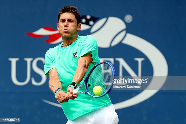 Matthew Ebden of Australia against Grigor Dimitrov of Bulgaria during their Men's Singles First Round match on Day One of the 2015 US Open at the...