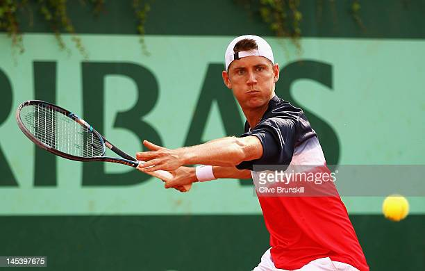 Matthew Ebden of Australia in action during his men's singles first round match against Philipp Kohlschreiber of Germany during day 2 of the French...
