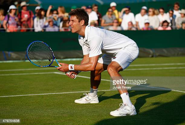 Matthew Ebden of Australia looks on playing with James Ward of Great Britain in their Gentlemens Doubles First Round match against Teymuraz...