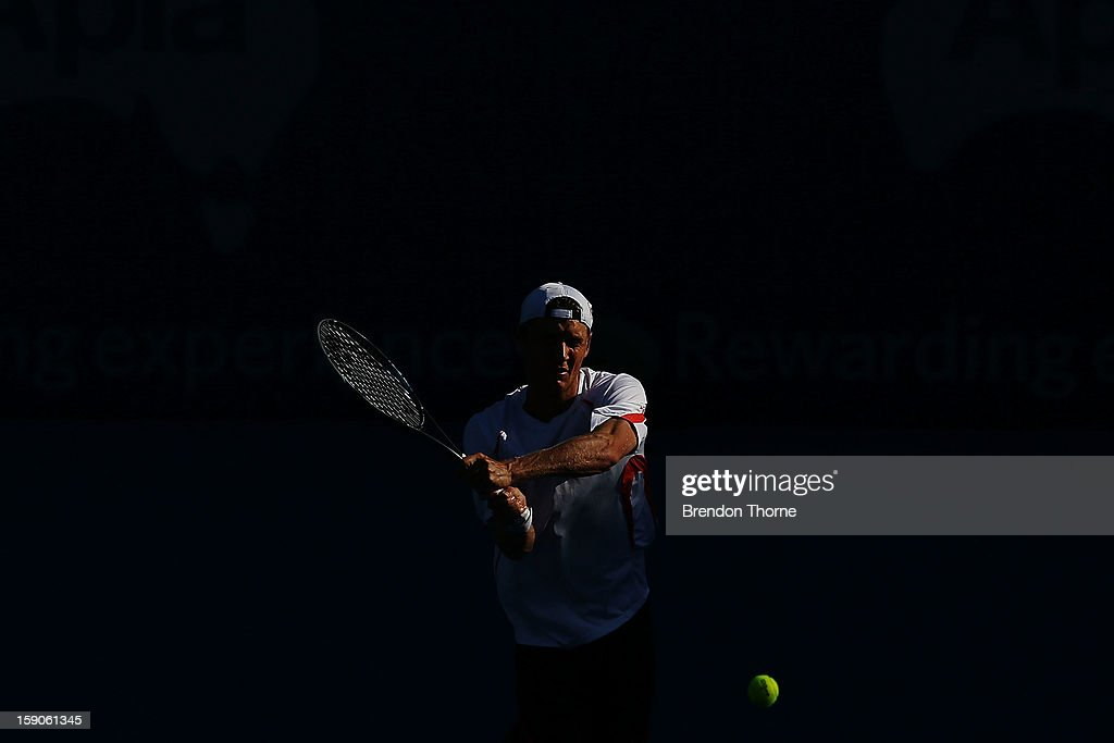 <a gi-track='captionPersonalityLinkClicked' href=/galleries/search?phrase=Matthew+Ebden&family=editorial&specificpeople=5662100 ng-click='$event.stopPropagation()'>Matthew Ebden</a> of Australia plays a backhand in his first round match against Marcel Granollers of Spain during day two of the Sydney International at Sydney Olympic Park Tennis Centre on January 7, 2013 in Sydney, Australia.