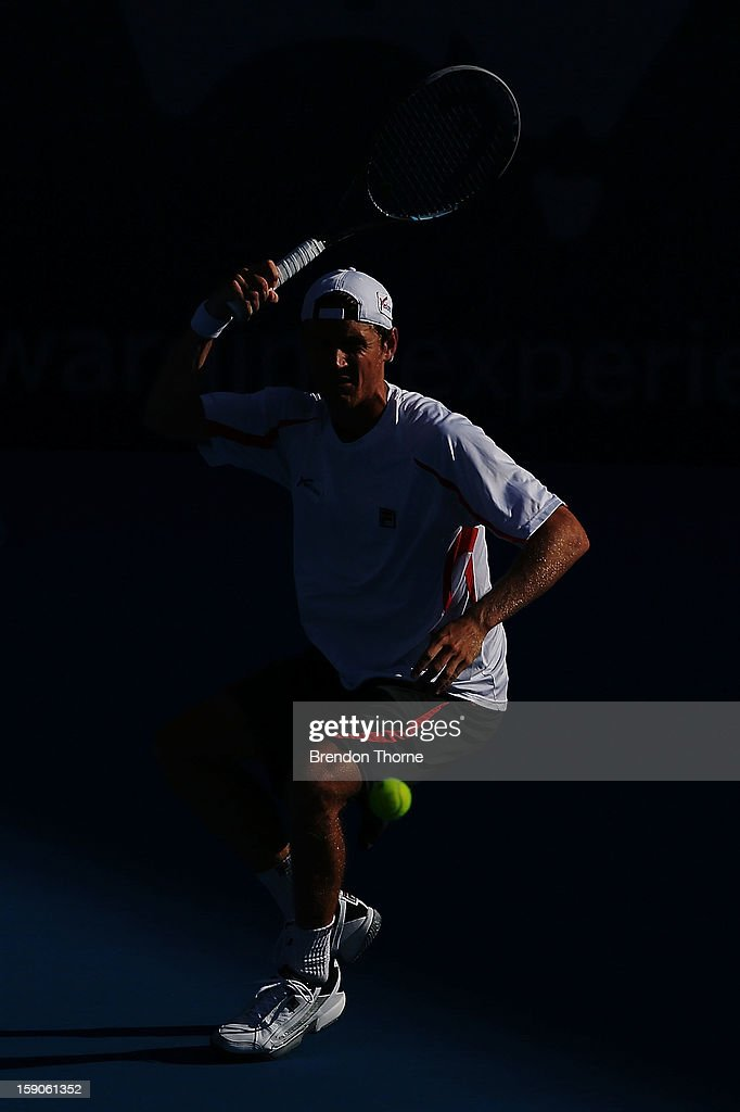 <a gi-track='captionPersonalityLinkClicked' href=/galleries/search?phrase=Matthew+Ebden&family=editorial&specificpeople=5662100 ng-click='$event.stopPropagation()'>Matthew Ebden</a> of Australia plays a forehand in his first round match against Marcel Granollers of Spain during day two of the Sydney International at Sydney Olympic Park Tennis Centre on January 7, 2013 in Sydney, Australia.