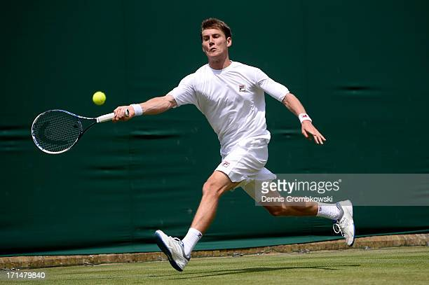 Matthew Ebden of Australia playsa forehand during his Gentlemen's Singles first round match against Kei Nishikori of Japan on day two of the...