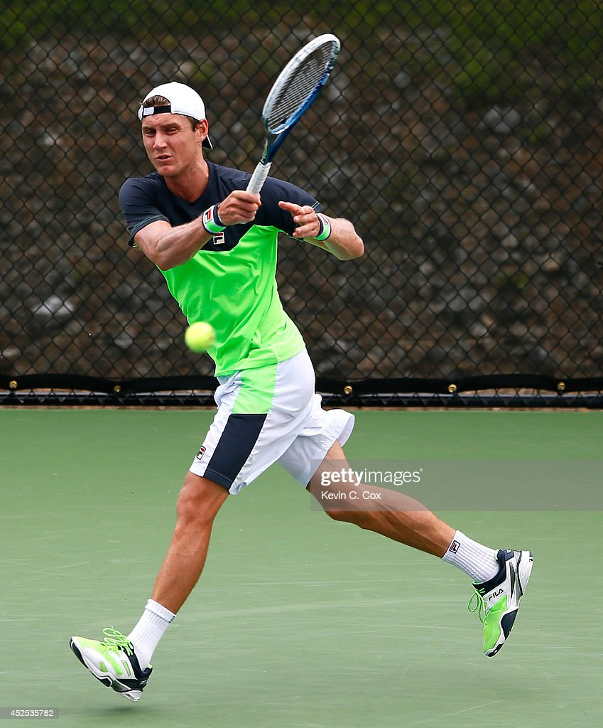 <a gi-track='captionPersonalityLinkClicked' href=/galleries/search?phrase=Matthew+Ebden&family=editorial&specificpeople=5662100 ng-click='$event.stopPropagation()'>Matthew Ebden</a> of Australia returns a forehand to Benjamin Becker of Germany during the BB&T Atlanta Open at Atlantic Station on July 22, 2014 in Atlanta, Georgia.