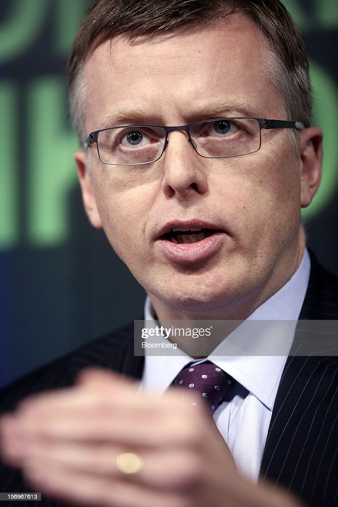 Matthew Elderfield, head of financial regulation at Ireland's central bank, gestures during an event in London, U.K., on Monday, Nov. 26, 2012. European leaders must put the funds and tools in place to rescue ailing lenders before they transfer oversight to the region's central bank or they risk worsening the sovereign-debt crisis, Elderfield said. Photographer: Jason Alden/Bloomberg via Getty Images