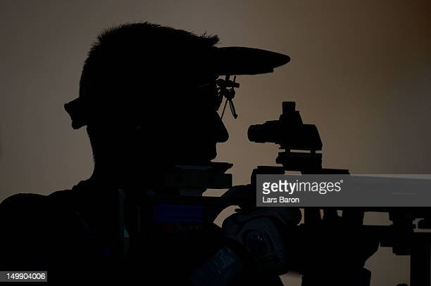 Matthew Emmons of the United States competes during the Men's 50m Rifle 3 Positions Shooting on Day 10 of the London 2012 Olympic Game at the Royal...