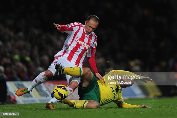 Matthew Etherington of Stoke City battles with Grant Holt of Norwich City during the Barclays Premier League match between Norwich City and Stoke at...