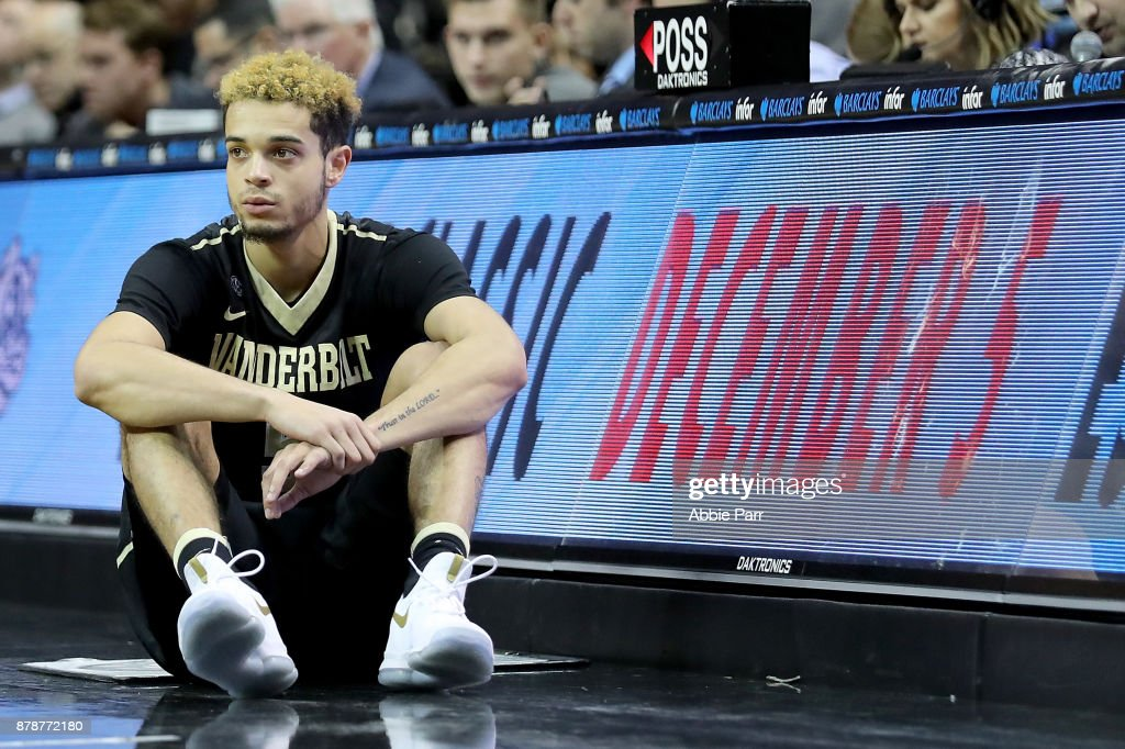 Matthew Fisher-Davis #5 of the Vanderbilt Commodores looks on from the sideline against the Seton Hall Pirates in the second half during their NIT Season Tip Off tournament game at Barclays Center on November 24, 2017 in the Brooklyn brough of New York City.
