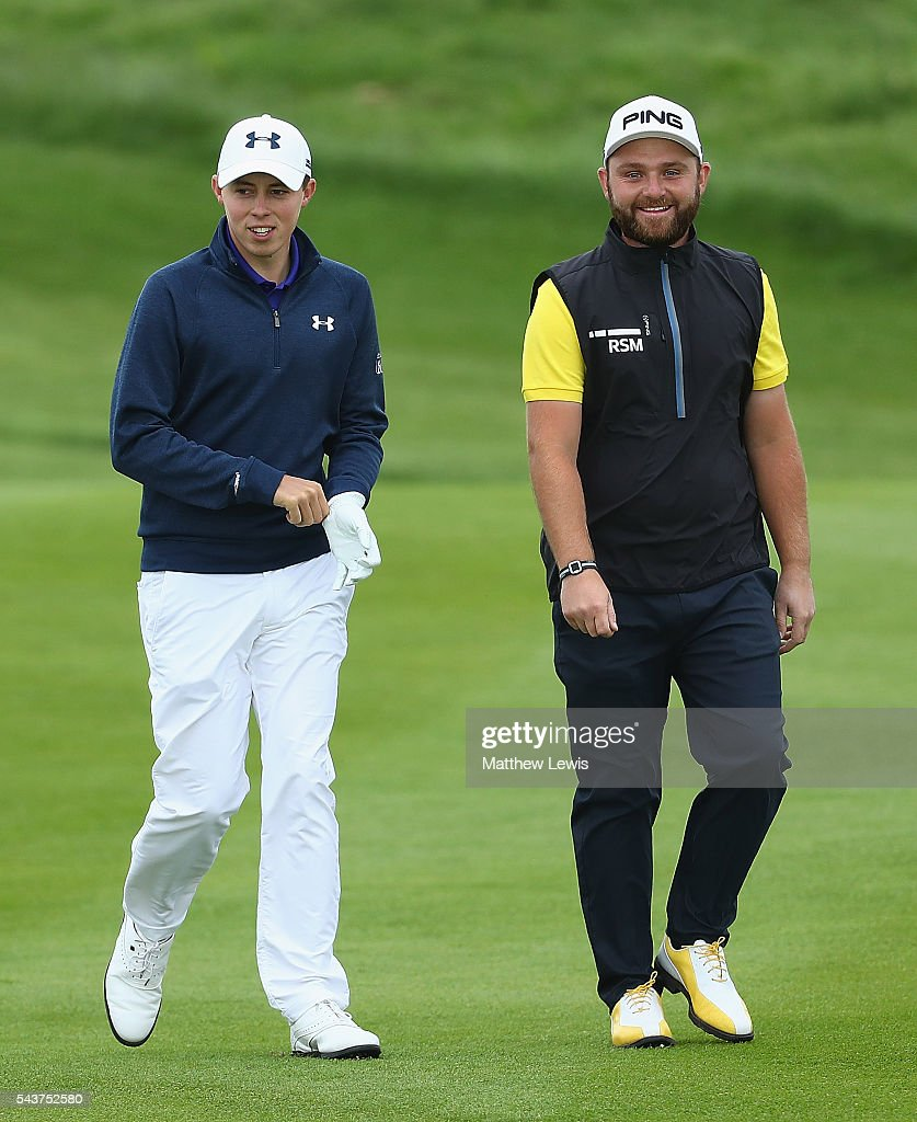 <a gi-track='captionPersonalityLinkClicked' href=/galleries/search?phrase=Matthew+Fitzpatrick+-+Golfer&family=editorial&specificpeople=8019521 ng-click='$event.stopPropagation()'>Matthew Fitzpatrick</a> of England and <a gi-track='captionPersonalityLinkClicked' href=/galleries/search?phrase=Andy+Sullivan+-+Golfer&family=editorial&specificpeople=13886721 ng-click='$event.stopPropagation()'>Andy Sullivan</a> of England looks on during day one of the 100th Open de France at Le Golf National on June 30, 2016 in Paris, France.