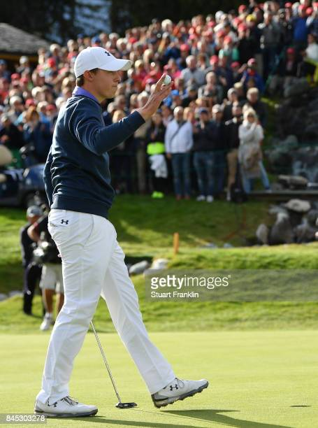 Matthew Fitzpatrick of England celebrtes holing the winning putt during the final round of the Omega European Masters at CranssurSierre Golf Club on...