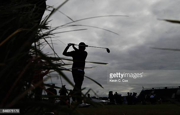 Matthew Fitzpatrick of England hits a tee shot on the 4th during a proactice round ahead of the 145th Open Championship at Royal Troon on July 12...