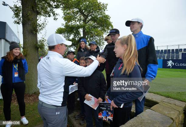 Matthew Fitzpatrick of England meets children from the Junior Golf Sixes Academy at Ponteland Golf Club who won the Junior Golf Sixes Tournament held...