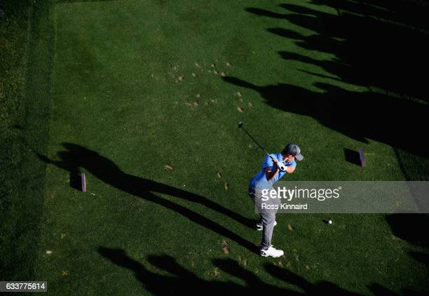 Matthew Fitzpatrick of England on the 17th tee during the third round of the Omega Dubai Desert Classic at Emirates Golf Club on February 4 2017 in...