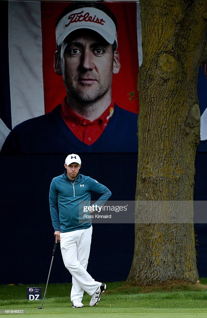 Matthew Fitzpatrick of England on the 18th green during the first round of the British Masters at Woburn Golf Club on October 8, 2015 in Woburn, England.