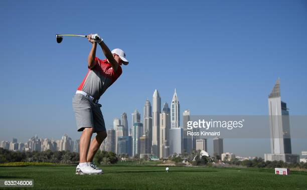 Matthew Fitzpatrick of England on the 8th tee during the proam event prior to the Omega Dubai Desert Classic at Emirates Golf Club on February 1 2017...