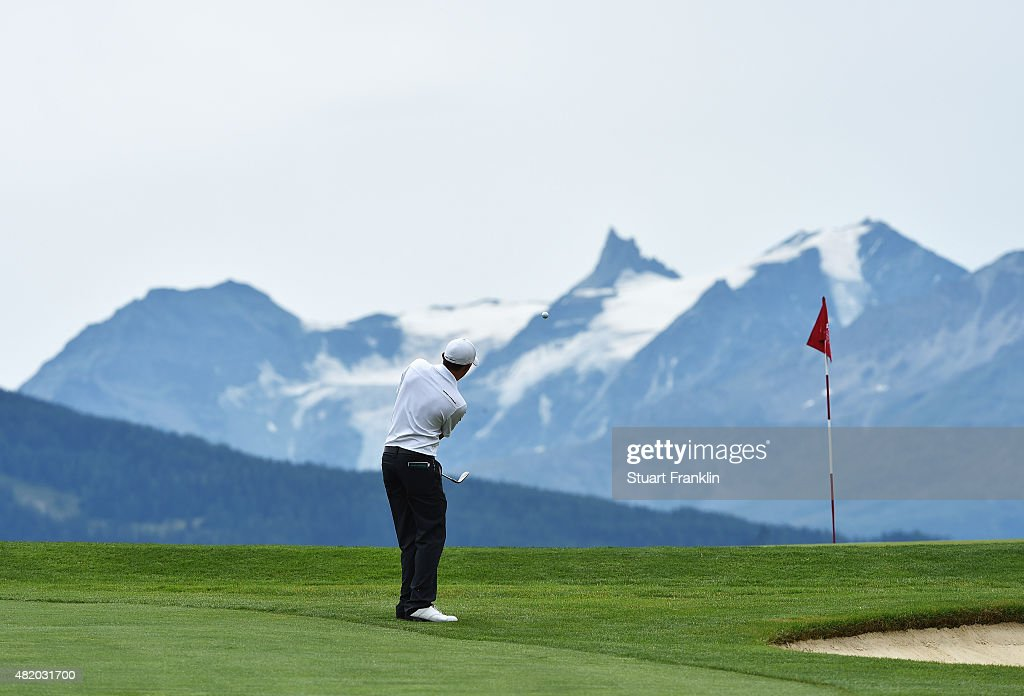Matthew Fitzpatrick of England plays a shot during the final round of the Omega European Masters at CranssurSierre Golf Club on July 26 2015 in...