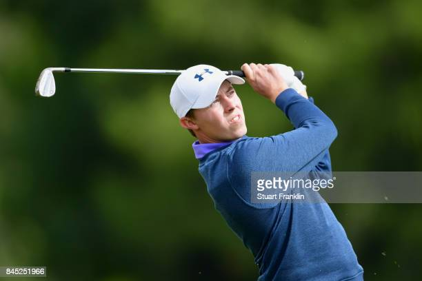 Matthew Fitzpatrick of England plays a shot on the 17th hole during Day Five of the Omega European Masters at CranssurSierre Golf Club on September...